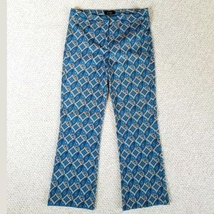 Junior's Blue Printed Cropped Flare Pants